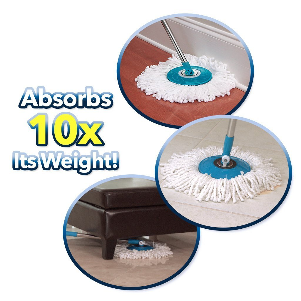 Hurricane Spin Mop infographic showing mop in use on different surfaces, absorbs 10x its weight