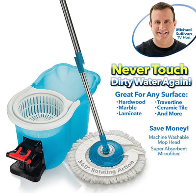 Hurricane Spin Mop infographic with silo image with wording never touch dirty water again