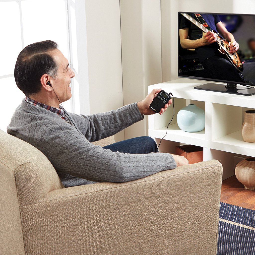Magic Ear 2-Pack in use by a man watching tv at home
