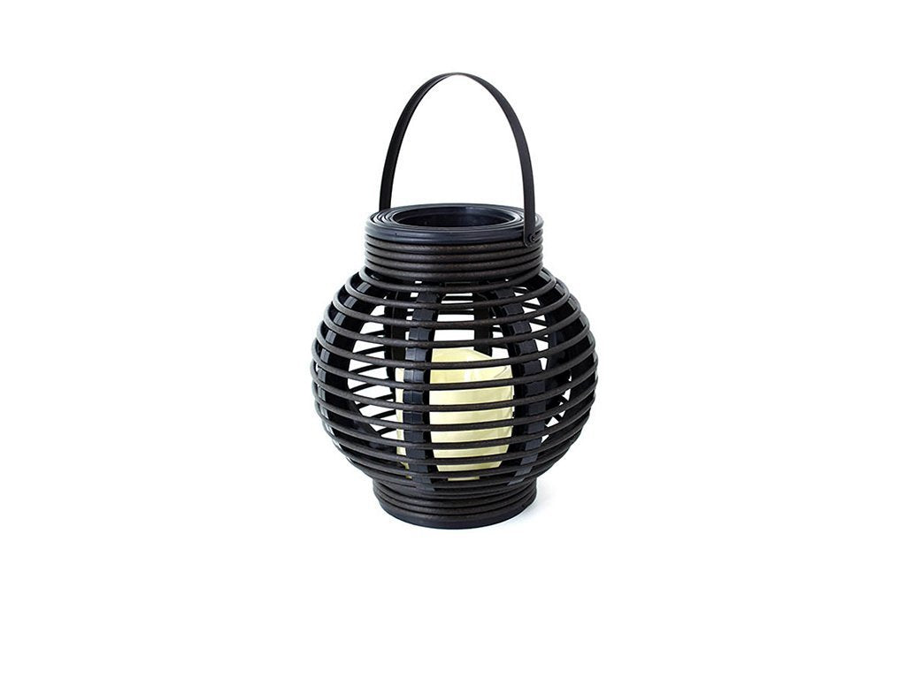 BLACK Rattan Round Basket Candle image from BulbHead