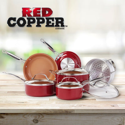 Red Copper 10 Piece Cookware Set on a table lifestyle image from BulbHead