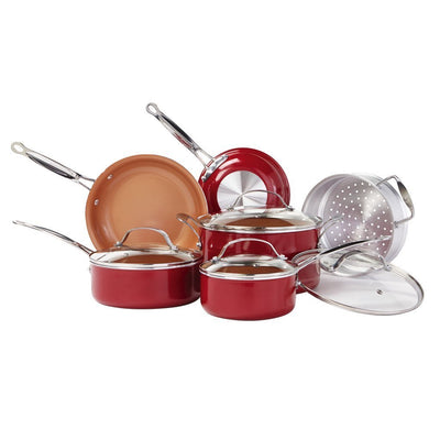 Red Copper 10 Piece Cookware Set silo image from BulbHead