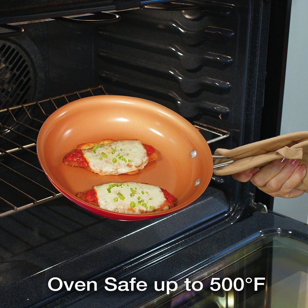 Red Copper 10 Piece Cookware Set fry pan in use in the oven, save up to 500-degree Fahrenheit