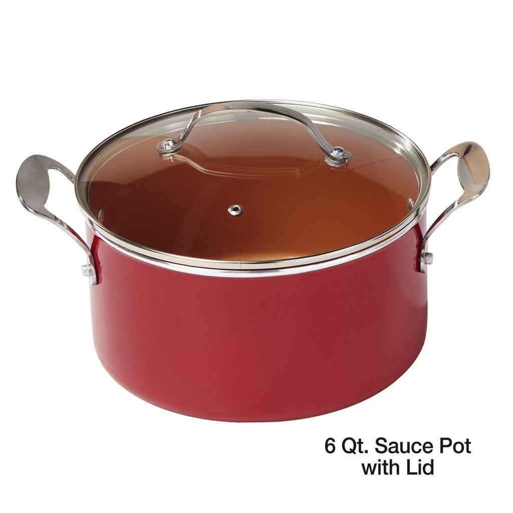 Red Copper 10 Piece Cookware Set silo of 6 qt sauce pot with lid