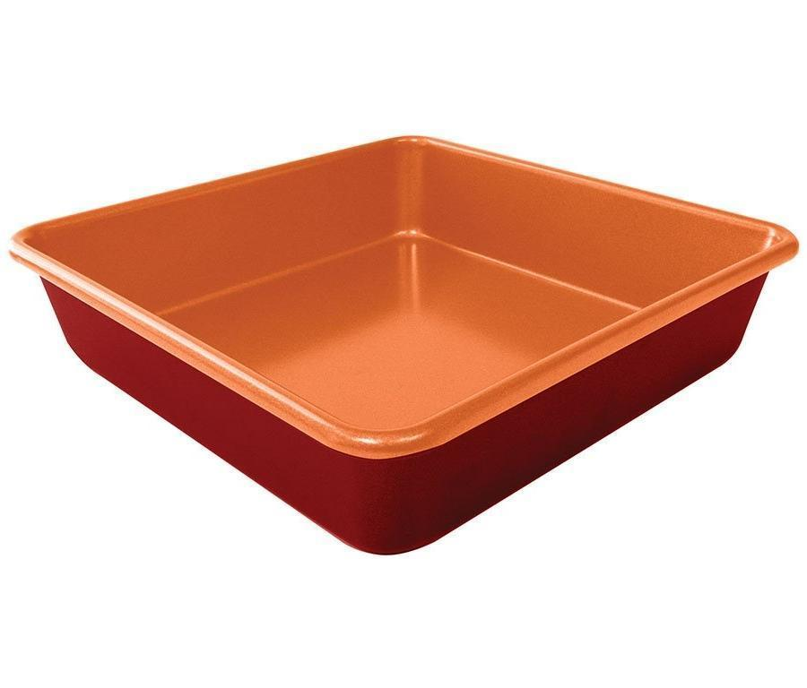 Red Copper 9.5 Inch Square Cake Pan image from BulbHead