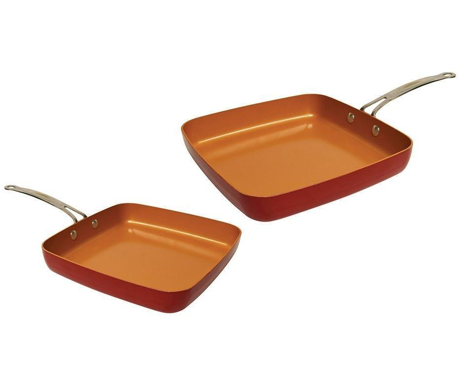 Red Copper Square Pan 2 Piece Set Bulbhead
