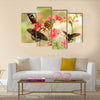 Beautiful tropical butterflies on a red flowers Multi Panel Canvas Wall Art