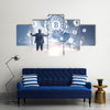 Businessman with hands in the air against a Bitcoin virtual interface hologram multi panel canvas wall art
