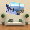 A Male Hiker On A Hiking Trail In The Early winter In The Mountains Of Liechtenstein, Multi Panel Canvas Wall Art