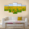 Fine summer field of sunflowers in the blue sky Multi panel canvas wall art