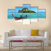 Long boat and poda island in Thailand Multi panel canvas wall art