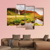 Lovely view of blooming green field in sunlight multi panel canvas wall art