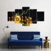 Business strategy ideas concept golden bitcoin and chess board game multi panel canvas wall art