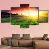 Majestic sunset in the mountain landscape multi panel canvas wall art