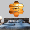 Beautiful sunset with airplane hexagonal canvas wall art