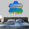Makarska turquoise and Biokovo mountain  hexagonal canvas wall art