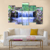 Small waterfall on a small picturesque brook in the forest Multi panel canvas wall art
