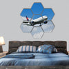 Aircraft approach and landing hexagonal canvas wall art