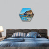 Scenic view to Castelsardo village Italy hexagonal canvas wall art
