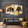 Honey Bees Sucking The Juice From The Ventricles Of The Flower, To Feed Their Young Ones, Multi Panel Canvas Wall Art