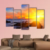 Tropical colorful sunset at the tropical beach, Thailand multi panel canvas wall art