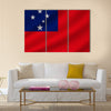 National flag of samoa on wavy cotton fabric Multi panel canvas wall art