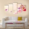 Beautiful Carnation flowers and butterflies in sun ray morning Multi Panel Canvas Wall Art