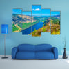 Aerial view of the upper and lower lake in Glendalough, Ireland multi panel canvas wall art