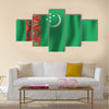 Turkmenistan realistic waving flag vector illustration Multi panel canvas wall art