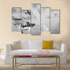 Black and white retro image of Lancaster bombers Multi Panel Canvas Wall Art