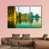 Beautiful sunset at Halong Bay in Vietnam Multi panel canvas wall art