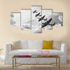 Amazing Black and white retro image of Lancaster bombers Multi Panel Canvas Wall Art