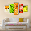 Collage of many fruits and vegetables Multi panel canvas wall art