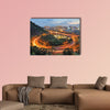 City interchange overpass at nightfall in Xindian, Taiwan multi panel canvas wall art