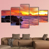 Tropical beach at sunset. Nature background Multi panel canvas wall art