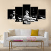 Check mate chess game in black and white multi panel canvas wall art