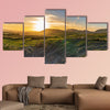 Sunset over the Yorkshire Dales near Settle, North Yorkshire, England, UK Multi panel canvas wall art