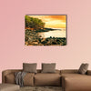 Sunset at volcanic stones beach, Big Island, Hawaii multi panel canvas wall art