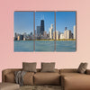 View of the city of Chicago from Michigan lake Multi panel canvas wall art