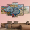 Globe Asia multi panel canvas wall art