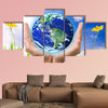 Hand holding earth, saving earth concept, multi panel canvas wall art