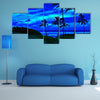 Romantic Tropical Beach At Night With A Bright Full Moon Multi Panel Canvas Wall Art