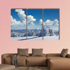 Winter landscape with fur-trees and fresh snow, multi panel canvas wall art