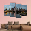 City lights of the Philadelphia skyline at nighttime multi panel canvas wall art