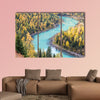 Beautiful xinjiang kanas autumn landscape of charming moon bay, China multi panel canvas wall