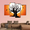 Illustration of a Halloween frightening wicked tree with evil eyes, graveyard, multi panel canvas wall art