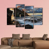 Panorama of Drangarnir rocky arch on Vagar island in sunset, Faroe wall art