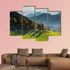 Green pasture and mountains, perfect road trip,Slovenia Multi panel canvas wall art