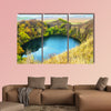 Mountain lake landscape. Reflection with autumn trees canvas wall art