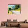 Road curves in Austrian mountains multi panel canvas wall art
